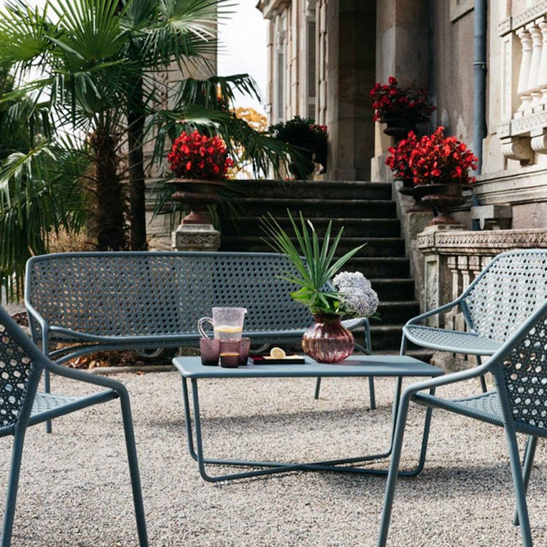 Fermob Croisette casual setting in Storm Grey at a Chateau