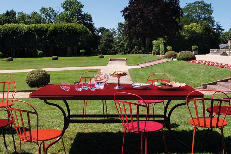 French large outdoor table in a chateau garden