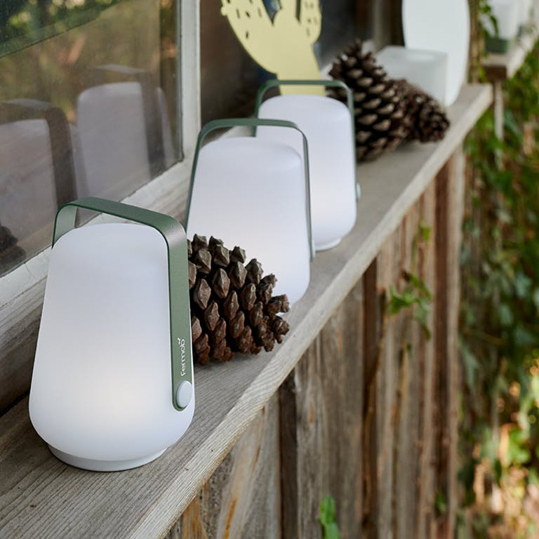 Fermob Balad H12 outdoor lamps on window sill