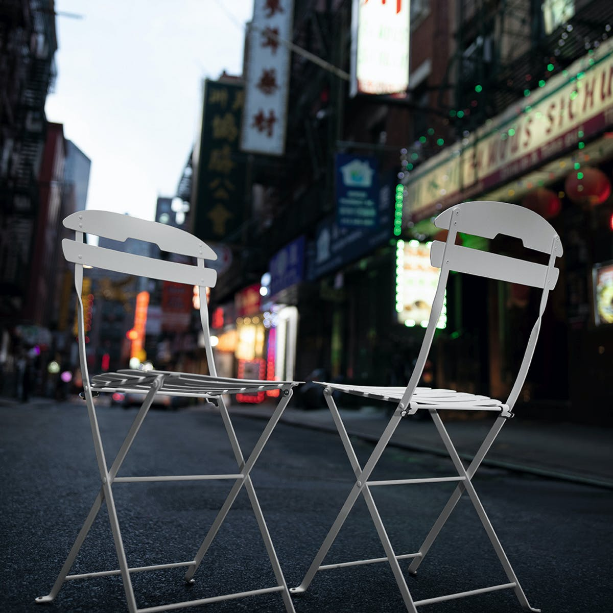 La Mome folding outdoor chairs on the streets of New York