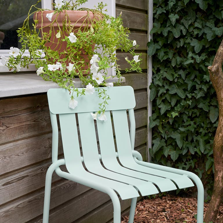 Fermob Stripe outdoor dining chair in Ice Mint