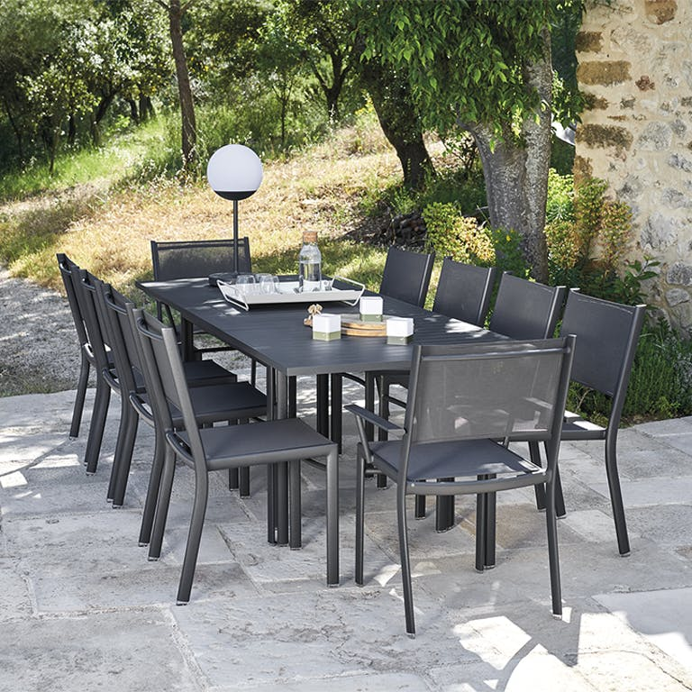 Fermob Costa Extending Outdoor Table With Chairs in Anthracite