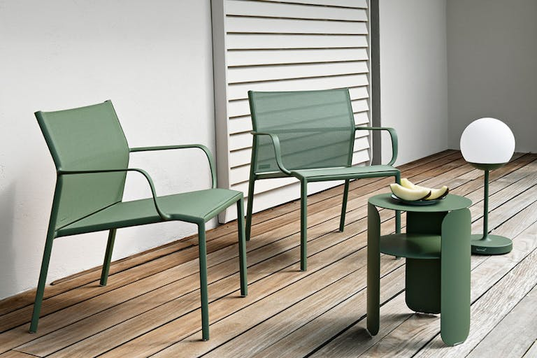 Fermob Cadiz Low Armchairs with Bebop Side Table in Cactus