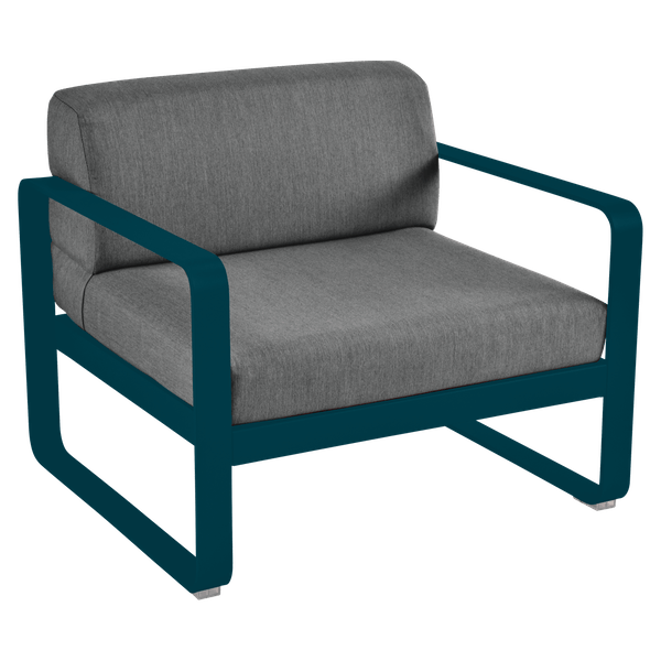 Bellevie Armchair - Graphite Cushions in Acapulco Blue