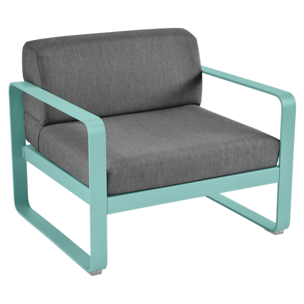 Bellevie Armchair - Graphite Cushions in Lagoon Blue