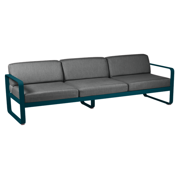 Bellevie 3 Seat Sofa - Graphite Cushions in Acapulco Blue