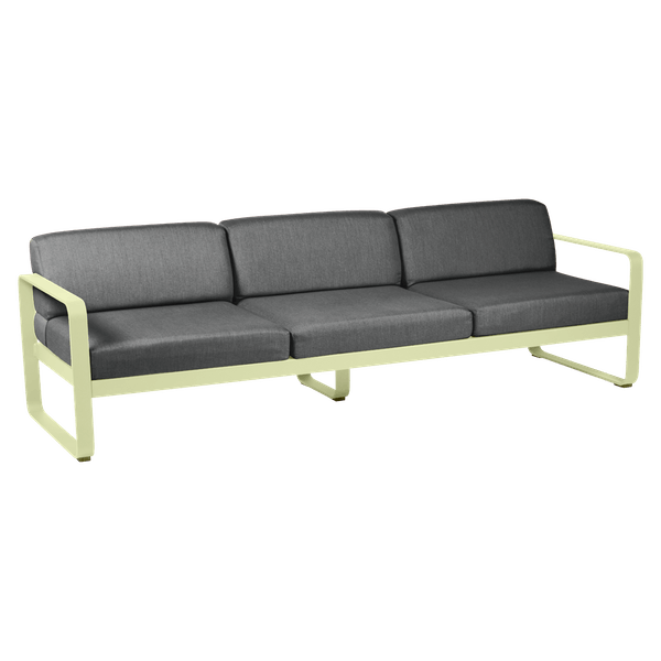 Bellevie 3 Seat Sofa - Graphite Cushions in Frosted Lemon