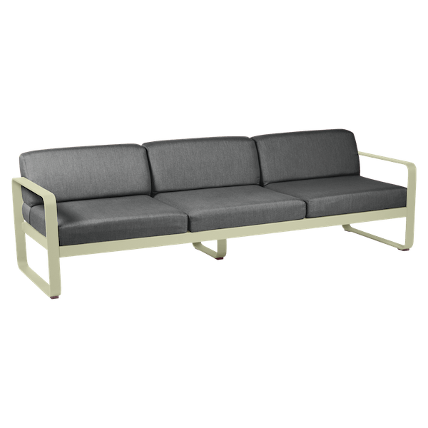 Bellevie 3 Seat Sofa - Graphite Cushions in Willow Green