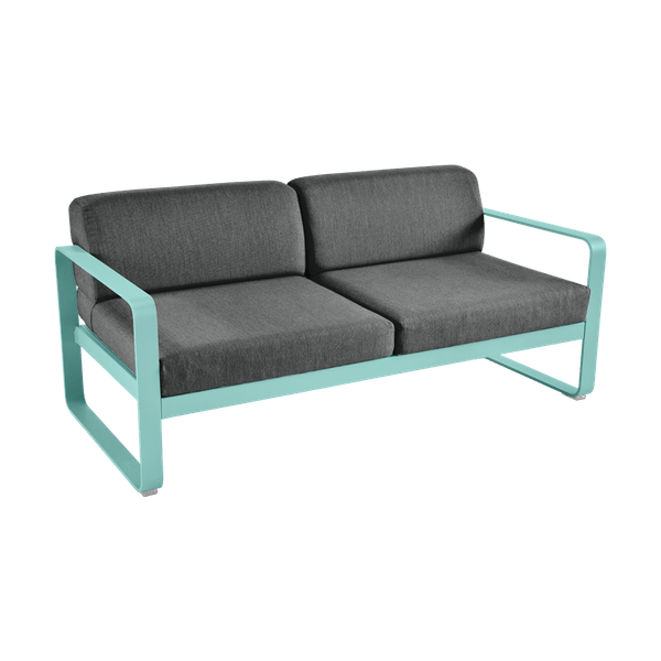Bellevie 2 Seat Sofa - Graphite Cushions in Lagoon Blue