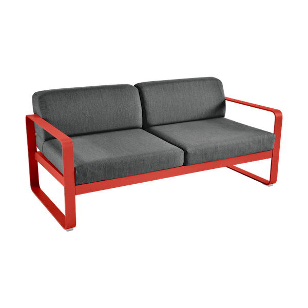 Bellevie 2 Seat Sofa - Graphite Cushions in Capucine
