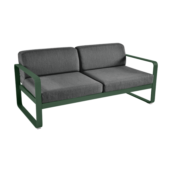 Bellevie 2 Seat Sofa - Graphite Cushions in Cedar Green
