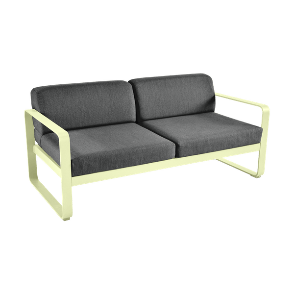 Bellevie 2 Seat Sofa - Graphite Cushions in Frosted Lemon