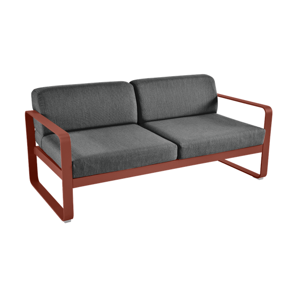 Bellevie 2 Seat Sofa - Graphite Cushions in Red Ochre