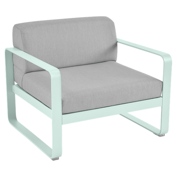 Fermob Bellevie Armchair - Flannel Grey Cushions in Ice Mint
