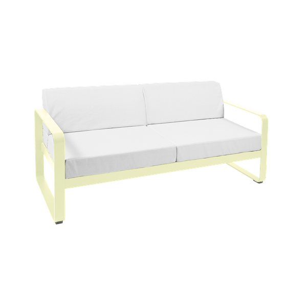 Fermob Bellevie 2 Seat Sofa - Off White Cushions in Frosted Lemon