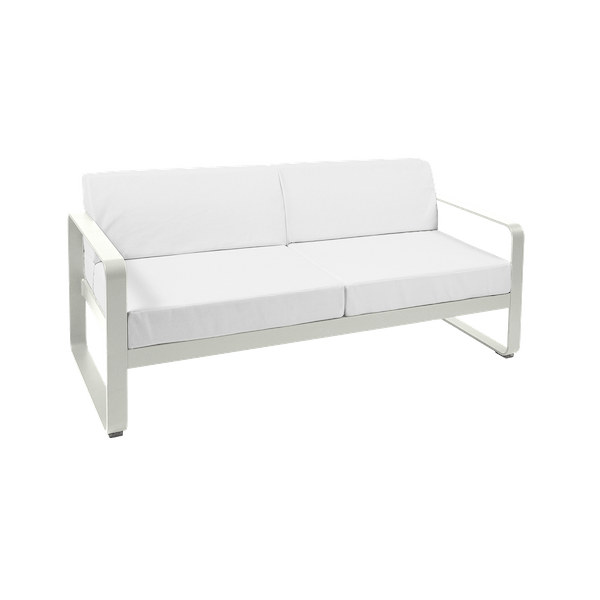 Fermob Bellevie 2 Seat Sofa - Off White Cushions in Clay Grey