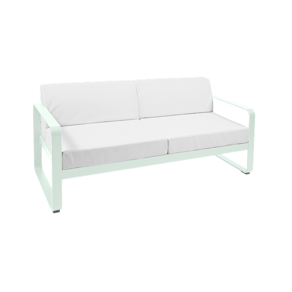 Fermob Bellevie 2 Seat Sofa - Off White Cushions in Ice Mint