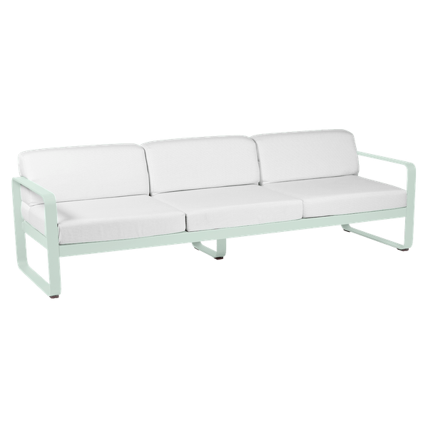 Fermob Bellevie 3 Seat Sofa - Off White Cushions in Ice Mint