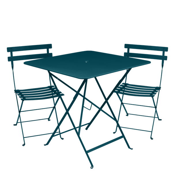 Fermob Bistro Set - 71cm Table and 2 Chairs in Acapulco Blue
