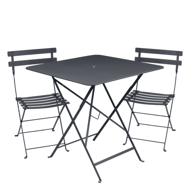 Fermob Bistro Set - 71cm Table and 2 Chairs in Anthracite