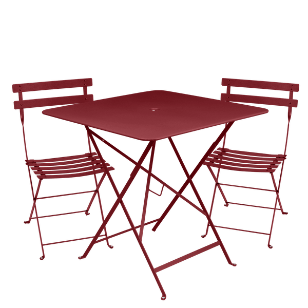 Fermob Bistro Set - 71cm Table and 2 Chairs in Chilli