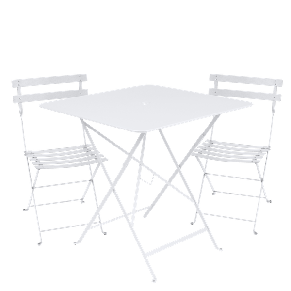Fermob Bistro Set - 71cm Table and 2 Chairs in Cotton White