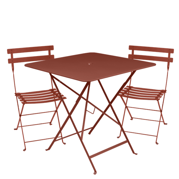 Fermob Bistro Set - 71cm Table and 2 Chairs in Red Ochre