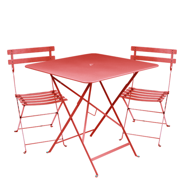 Fermob Bistro Set - 71cm Table and 2 Chairs in Poppy