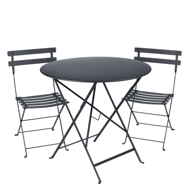 Fermob Bistro Set - 77cm Table and 2 Chairs in Anthracite