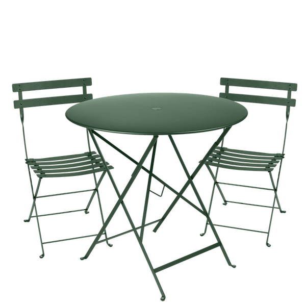Fermob Bistro Set - 77cm Table and 2 Chairs in Cedar Green