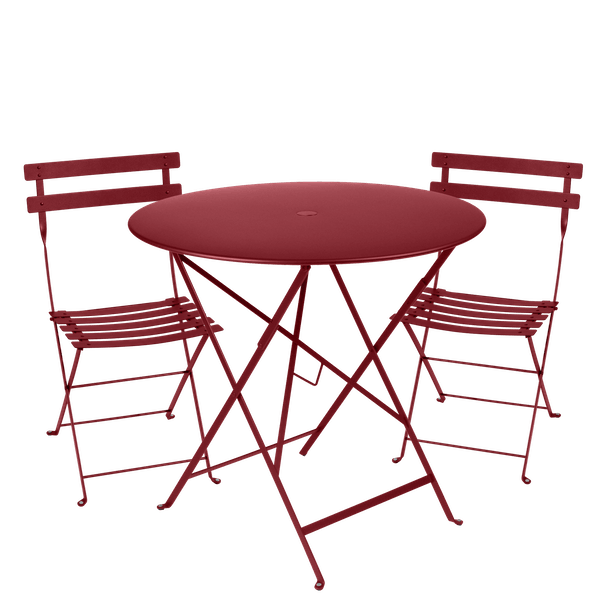 Fermob Bistro Set - 77cm Table and 2 Chairs in Chilli