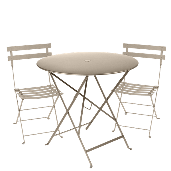 Fermob Bistro Set - 77cm Table and 2 Chairs in Nutmeg