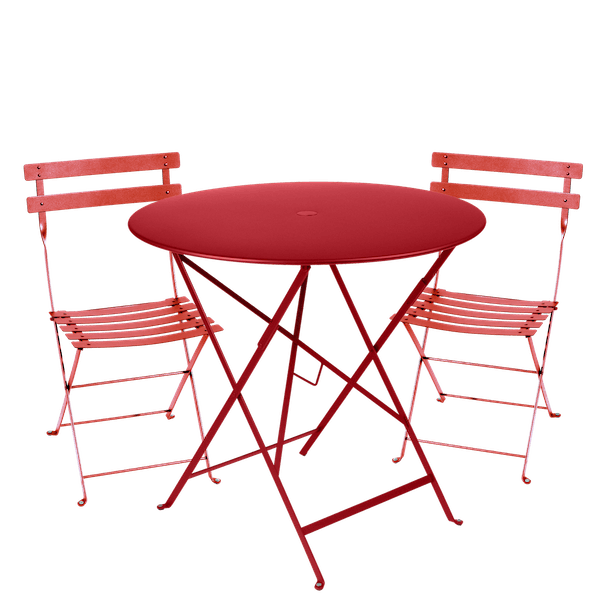Fermob Bistro Set - 77cm Table and 2 Chairs in Poppy