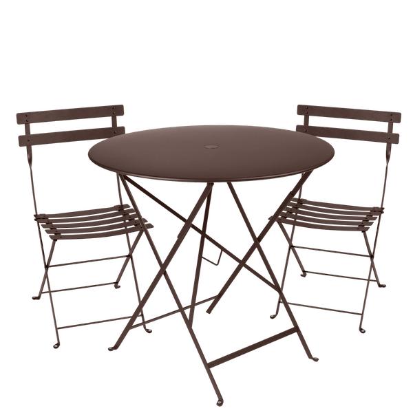 Fermob Bistro Set - 77cm Table and 2 Chairs in Russet
