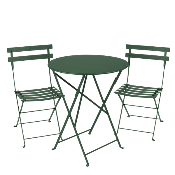 Fermob Bistro Set - 60cm Table and 2 Chairs in Cedar Green