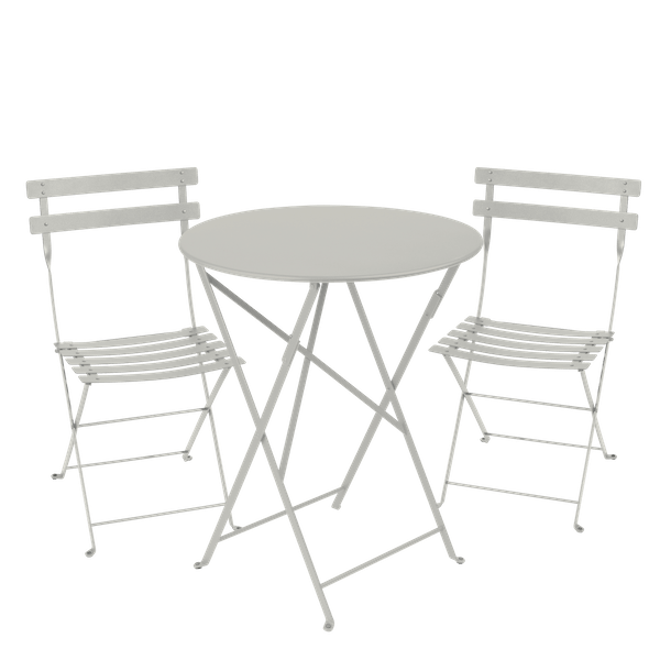 Fermob Bistro Set - 60cm Table and 2 Chairs in Clay Grey