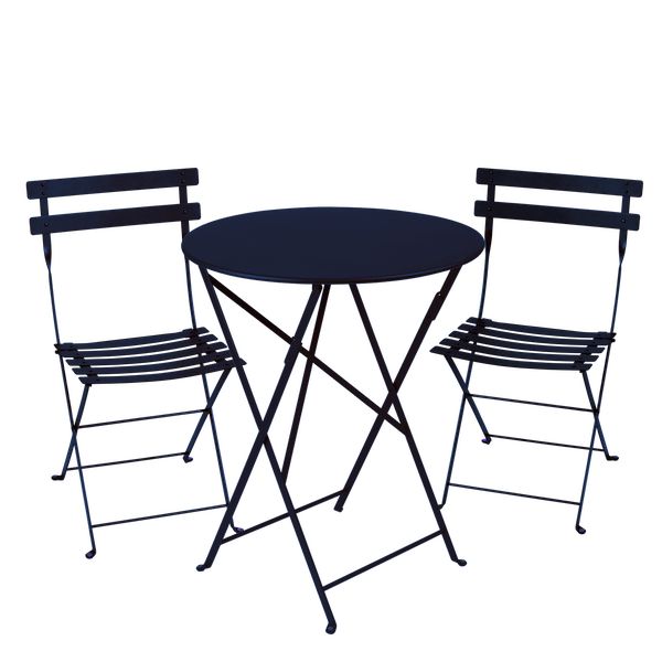 Fermob Bistro Set - 60cm Table and 2 Chairs in Deep Blue