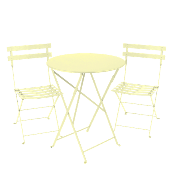 Fermob Bistro Set - 60cm Table and 2 Chairs in Frosted Lemon