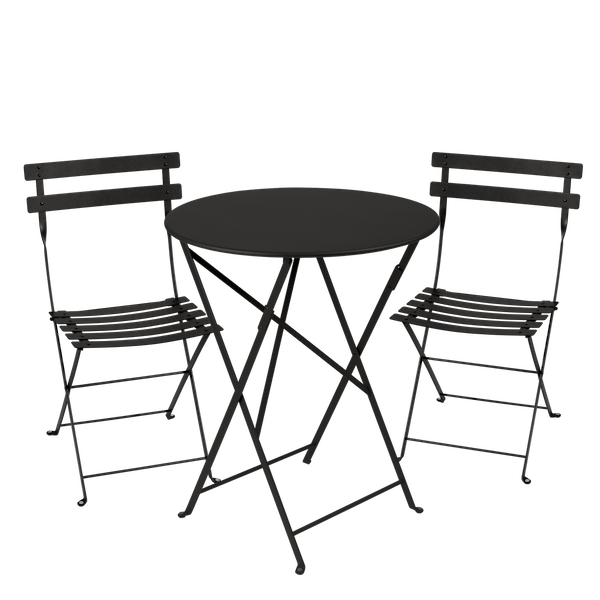Fermob Bistro Set - 60cm Table and 2 Chairs in Liquorice