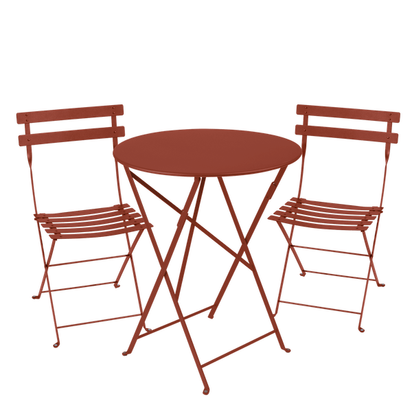 Fermob Bistro Set - 60cm Table and 2 Chairs in Red Ochre