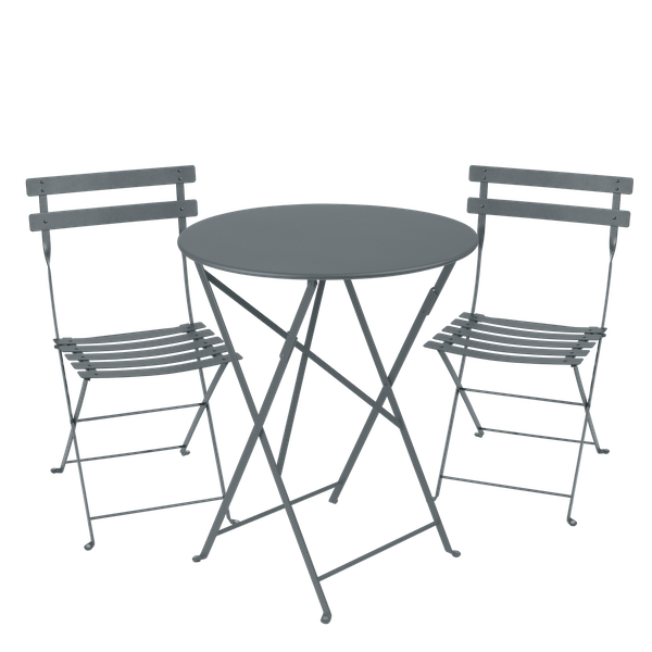 Fermob Bistro Set - 60cm Table and 2 Chairs in Storm Grey