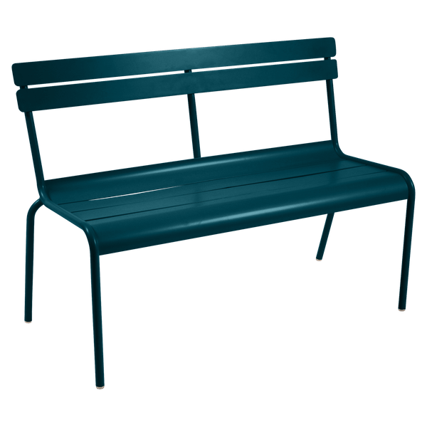 Fermob Luxembourg Bench with Back in Acapulco Blue