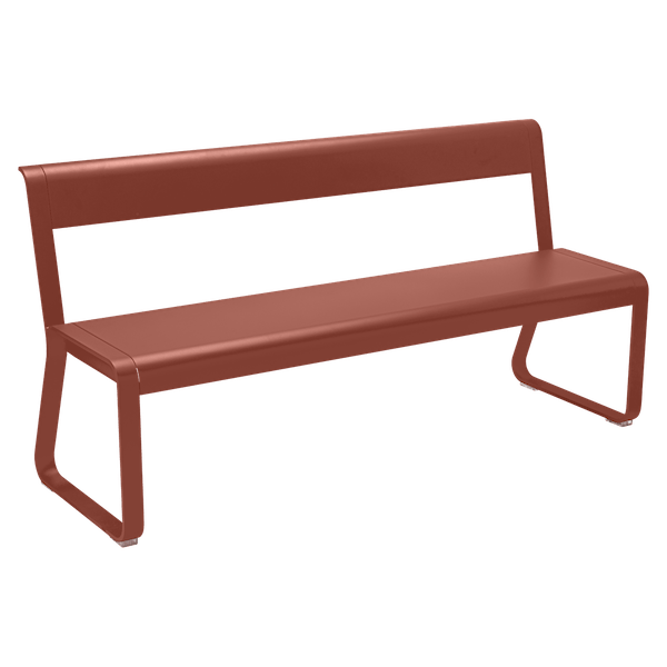 Fermob Bellevie Bench with Back in Red Ochre