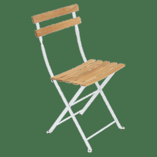 Fermob Bistro Folding Chair - Natural Slats in Cotton White