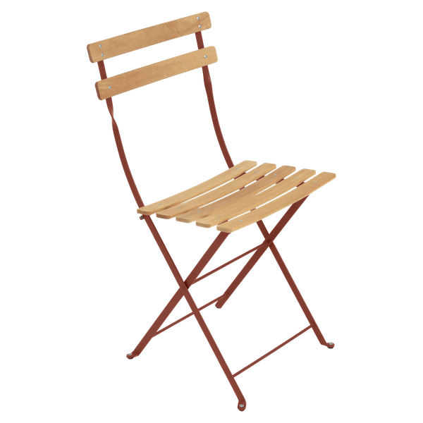Fermob Bistro Folding Chair - Natural Slats in Red Ochre