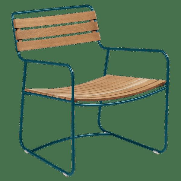 Fermob Low Armchair- Teak in Acapulco Blue